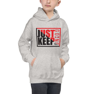 Just Keep Going Unisex Kids Youth Drawcordless Earphone Pocket Double Fabric Hoodie - AMGA FIT