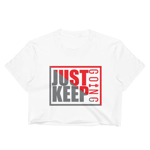 Image of Just Keep Going Women's Fitted Raw Hem Crop Top - AMGA FIT
