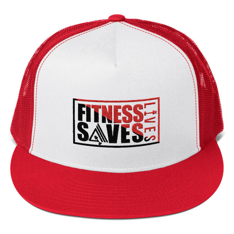 Image of Fitness Saves Lives High Profile Snapback Trucker Cap - AMGA FIT
