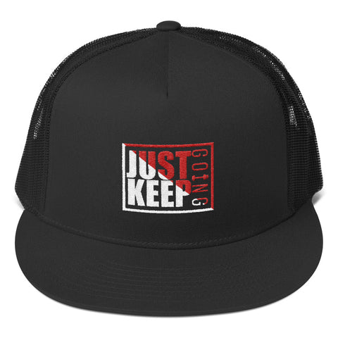 Image of Just Keep Going High Profile Snapback Trucker Cap - AMGA FIT