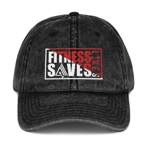Image of Fitness Saves Lives Vintage Low Profile Adjustable Dad Hat - AMGA FIT
