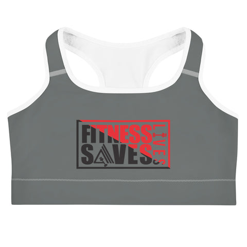 Image of Fitness Saves Lives Medium Intensity Double Layer Racerback Wide Band Sports Bra - AMGA FIT