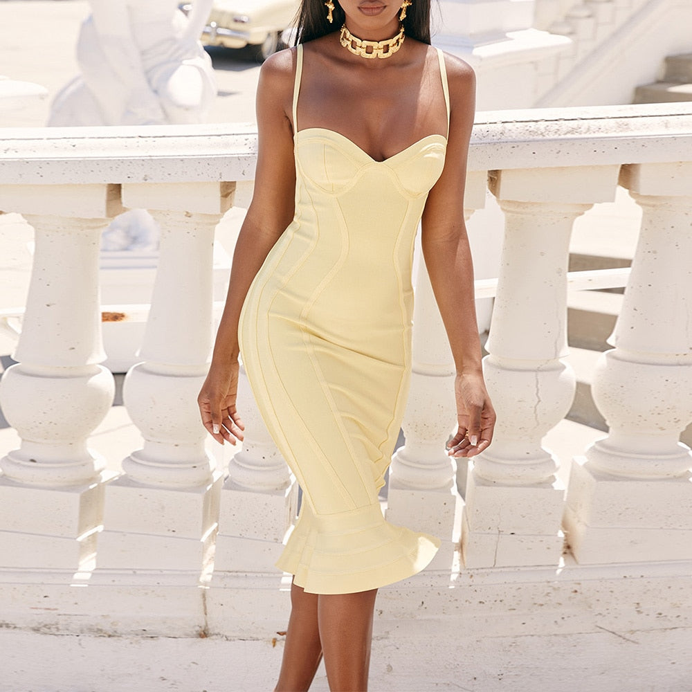 Lemon Mermaid Bandage Dress