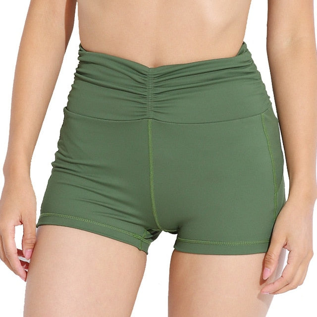 Ruched High Waist Active Shorts
