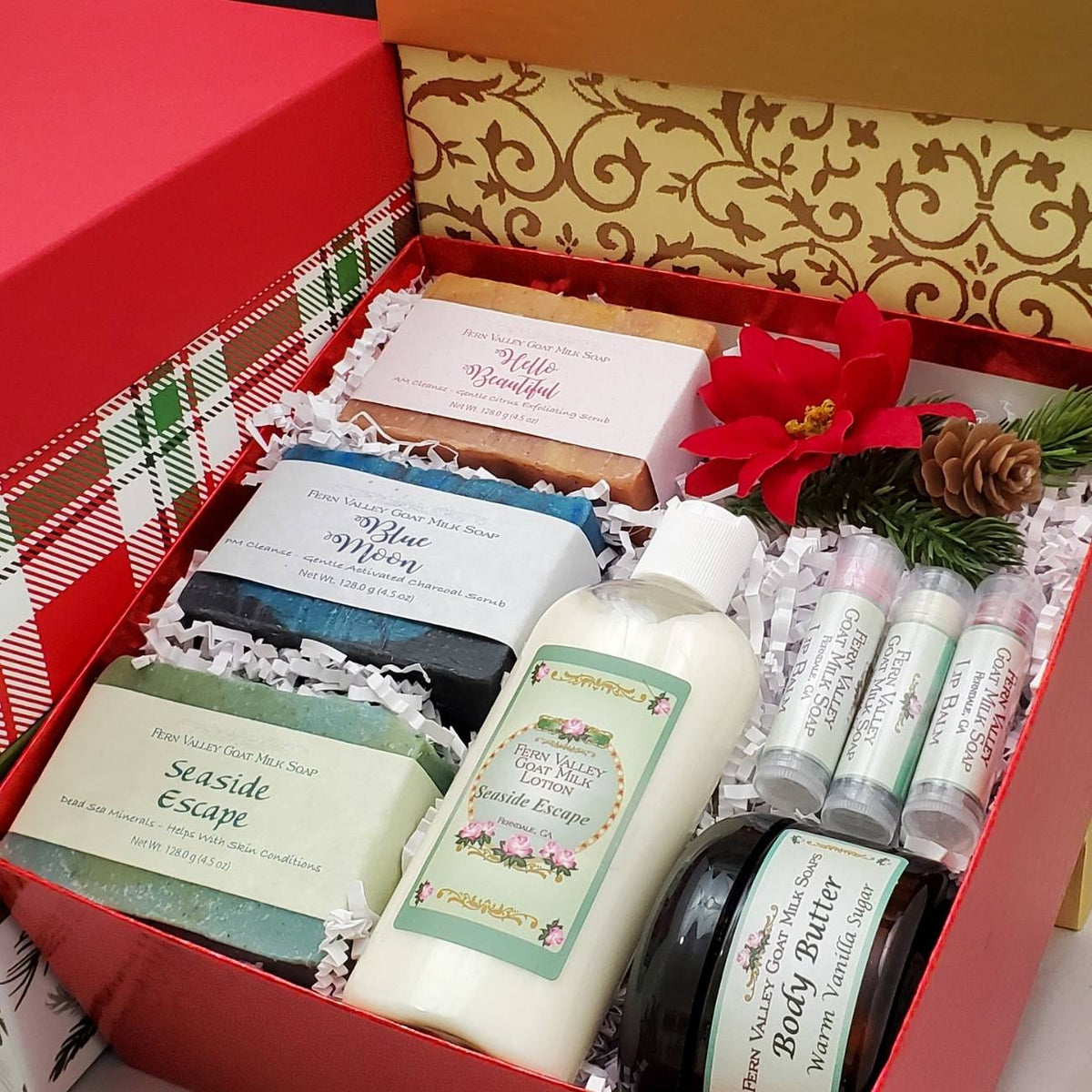 Christmas Gift Box Set | Handmade Goat Milk Soaps and Lotion