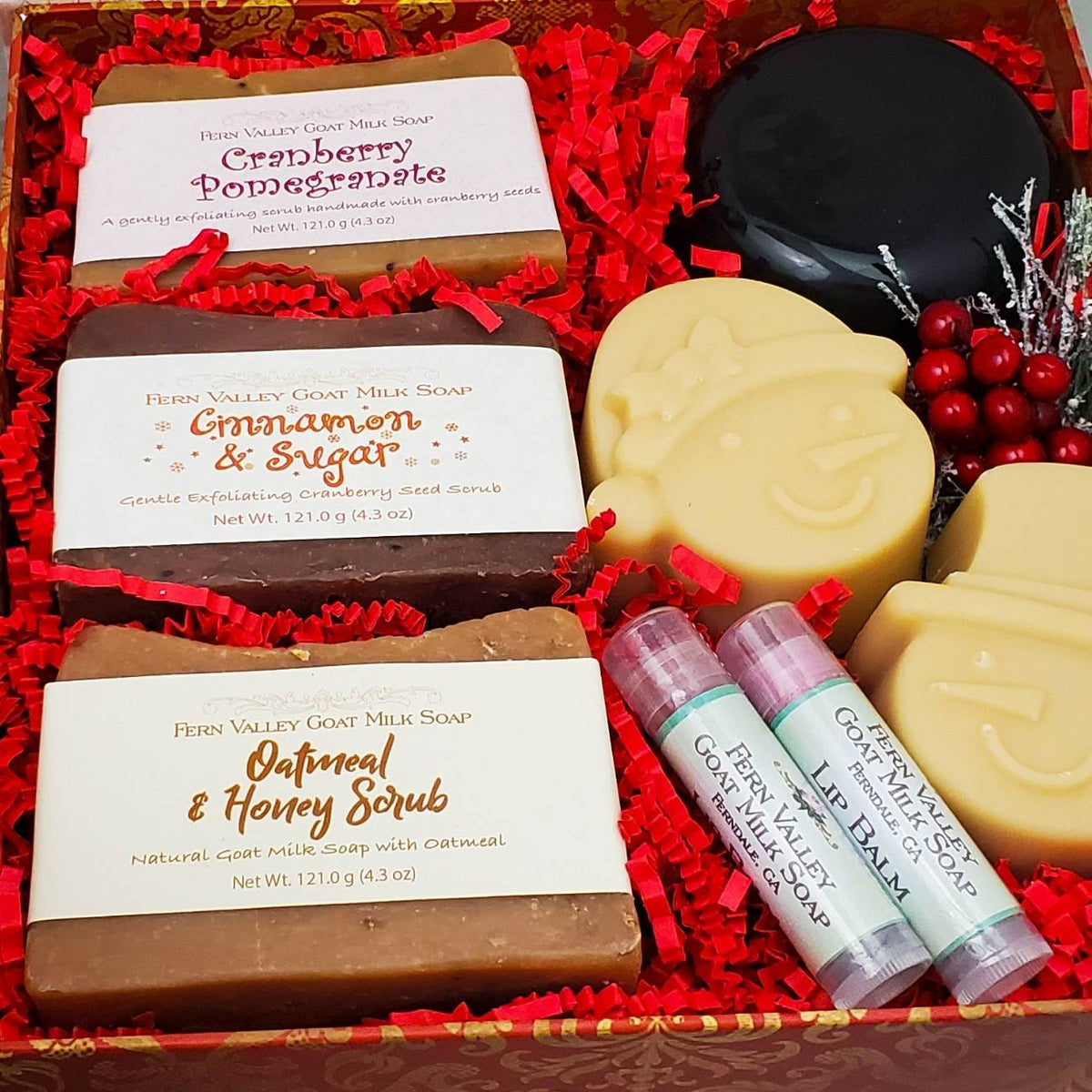 Christmas Greeting Gift Box Set | Handmade Goat Milk Soaps and Lotion