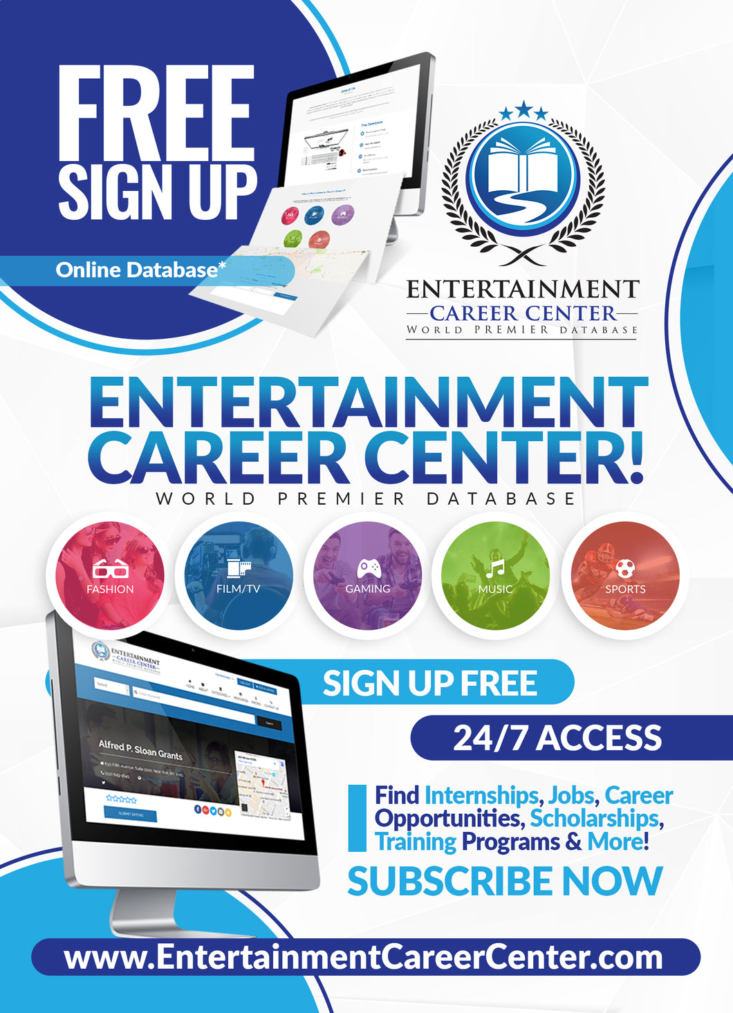 Entertainment Career Center: Database - Fashion, Film/TV, Gaming, Music & Sports. New listings are added daily...so log in often! Enter keywords like filmmakers, internships and training programs to get started. Sign up free.