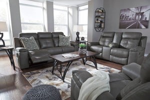 Ashley Gray Fabric Reclining Sofa Set