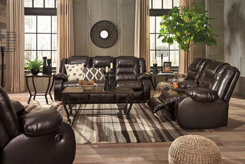 Ashley Brown Reclining Sofa Set