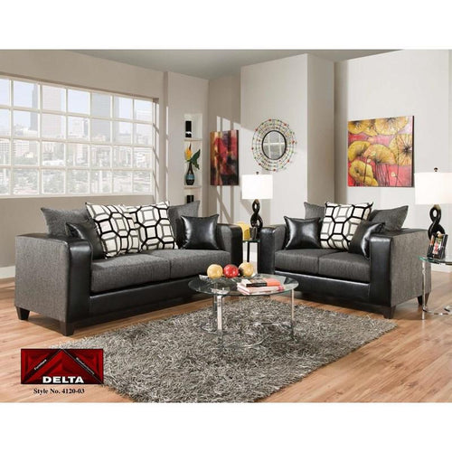 Delta Charcoal Gray Sofa Set