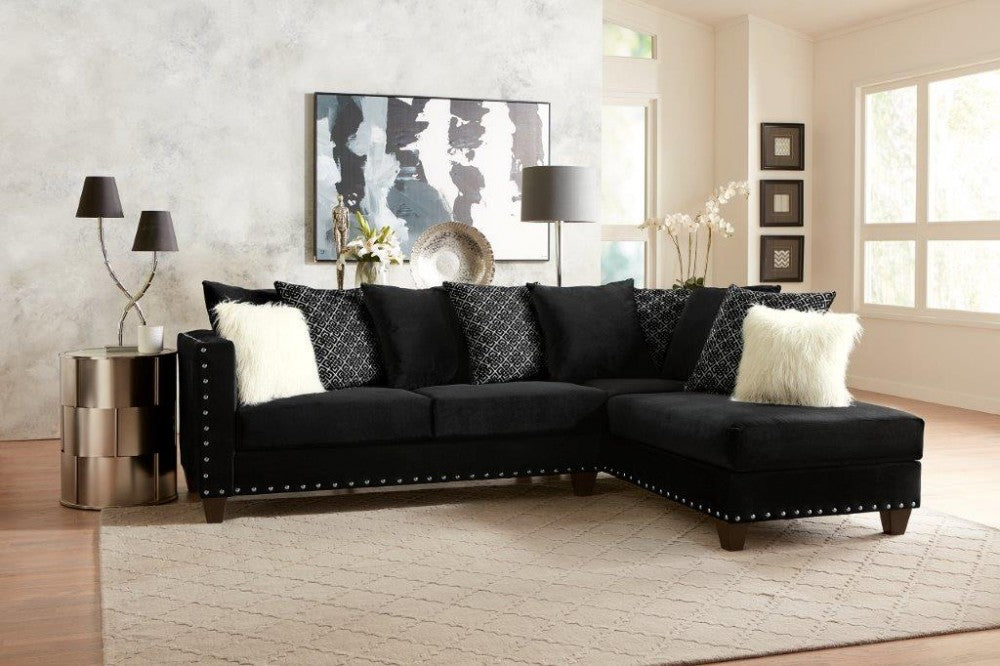 Black Sectional (with white fluffy pillows)