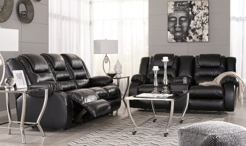 Ashley Black Reclining Sofa Set
