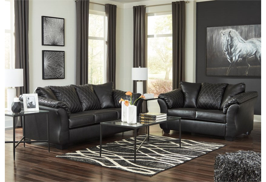 Black Quilted Sofa Set