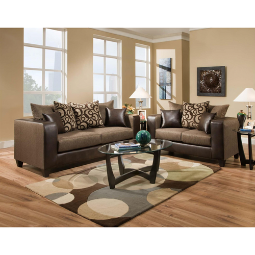 Swirls Brown Sofa Set