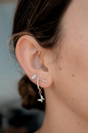 Pave Diamond Curved Stud - Embody Los Angeles