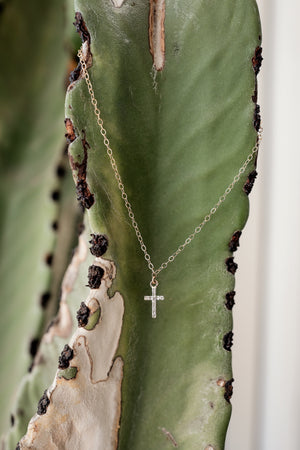 Pave Diamond Cross Necklace - Embody Los Angeles
