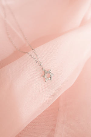 Pave Diamond Star of David Necklace