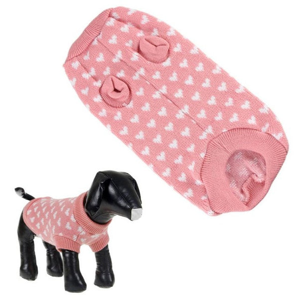 Fashion Pink Dog Sweater&Lovely White Hearts Pet Clothes Jumper   products for animals dog clothes dog - General Pet Store