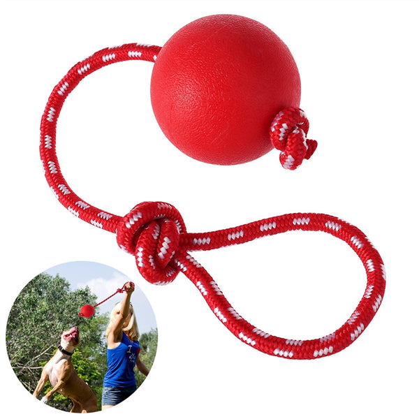 UEETEK Pet Solid Rubber Ball with Rope Dog Ball Launcher Thrower for Pets Training Exercising - Size L - General Pet Store