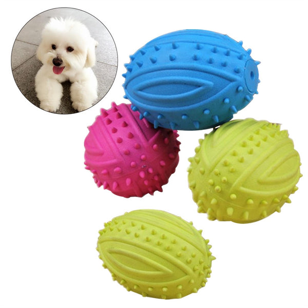4 Pcs Dog Rugby Ball Football Pet Dog Chew Small Rubber Ball Toys - General Pet Store
