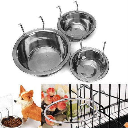 Stainless Steel Pet Dog Bowl Food Water Drinking Cage Cup Hanger Food Water Bowl Travel Bowl For Pet Feeding Tools - General Pet Store