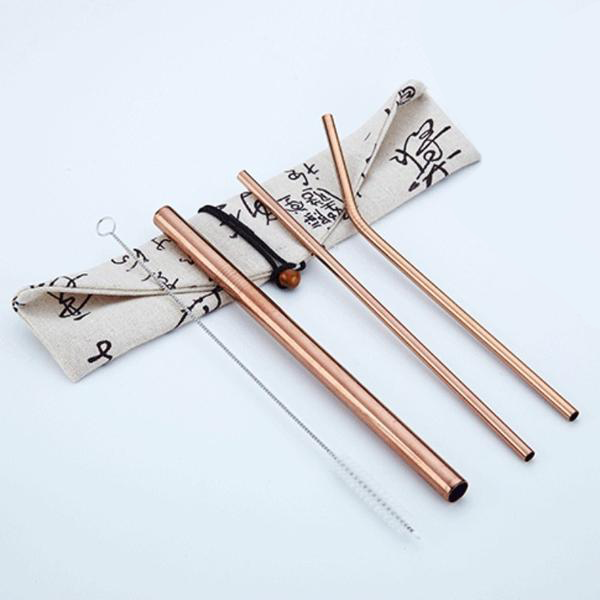 Reusable Stainless Steel Straws (3 Pack) - Rose Gold