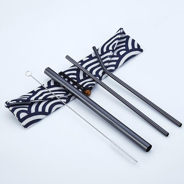 Reusable Stainless Steel Straws (3 Pack) - Black