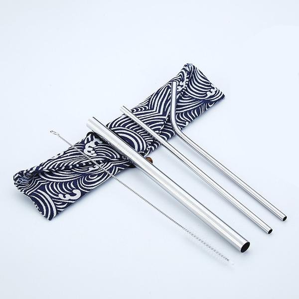 Reusable Stainless Steel Straws (3 Pack) - Silver