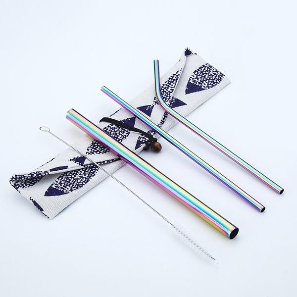 Reusable Stainless Steel Straws (3 Pack) - Rainbow