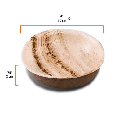 "Round palm leaf dish, 80ml / 2.5oz / 4"" (400 pcs.) - Naturally Chic Eco-Friendly Packaging Canada"