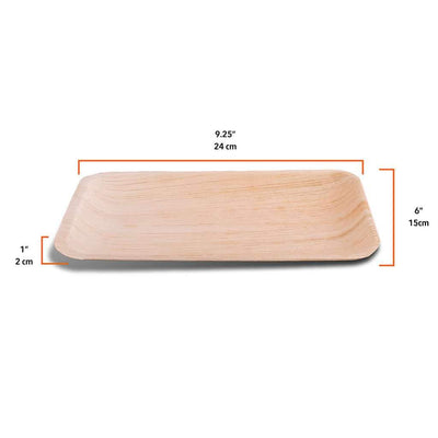 "Rectangle palm leaf plates, flat, 25x15cm / 9""x6"" (200 pcs.) - Naturally Chic Eco-Friendly Packaging Canada"
