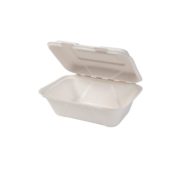 Bagasse hinged-lid containers 600ml / 20oz, rectangular (500pcs.) - Naturally Chic Eco-Friendly Packaging Canada