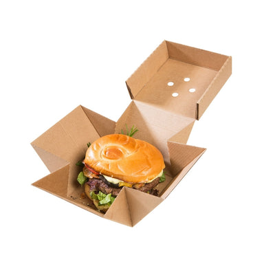 "Brown Burger Box XL, Kraft, 13 x 13 x 10 cm / 5"" x 5"" x 4"" (100 pcs.) - Naturally Chic Eco-Friendly Packaging Canada"