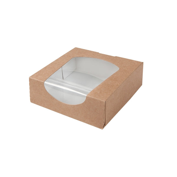 Brown cardboard window boxes, 600ml / 20oz (250 pcs.) - Naturally Chic Eco-Friendly Packaging Canada