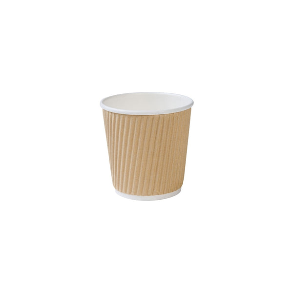 Brown ripple cups, 100ml / 4oz, kraft (500 pcs.) - Naturally Chic Eco-Friendly Packaging Canada