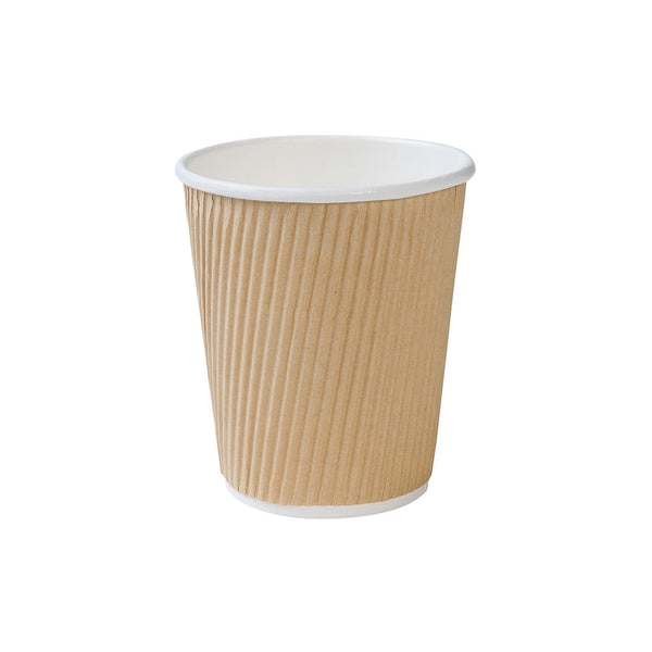 Brown ripple cups, 200ml / 8oz, kraft (500 pcs.) - Naturally Chic Eco-Friendly Packaging Canada