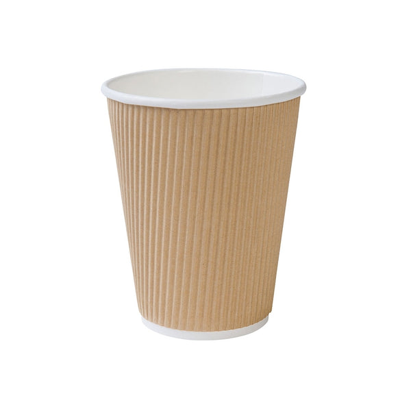 Brown ripple cups, 300ml / 12oz, kraft (500 pcs.) - Naturally Chic Eco-Friendly Packaging Canada