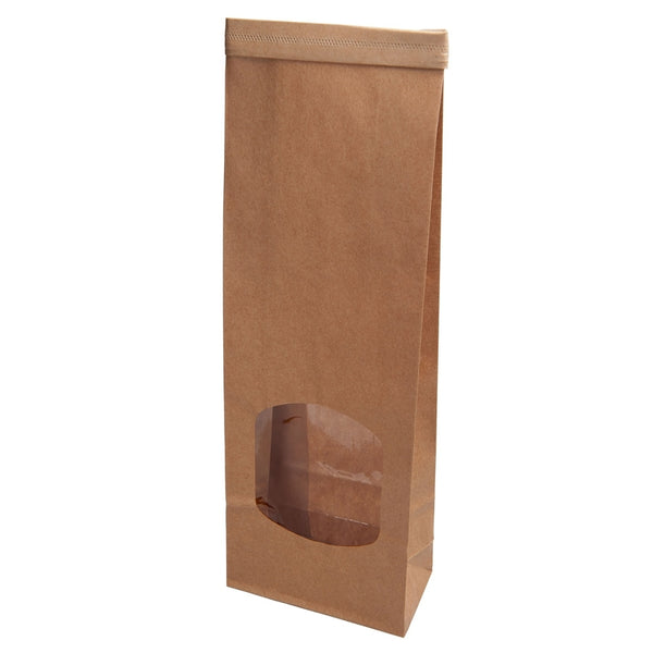 "Brown block bottom bags ""S"" with window & tin-tie (500 pcs.) - Naturally Chic Eco-Friendly Packaging Canada"