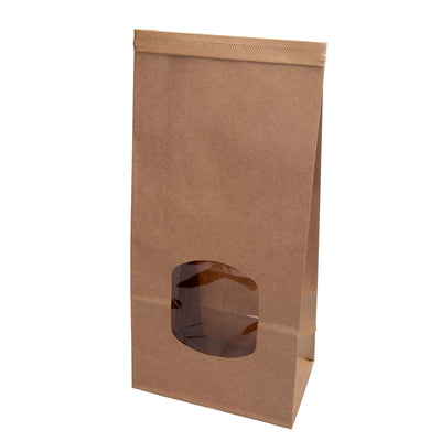 "Brown block bottom bags ""M"" with window & tin-tie (400 pcs.) - Naturally Chic Eco-Friendly Packaging Canada"