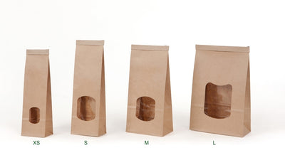 "Brown block bottom bags ""L"" with window & tin-tie (400 pcs.) - Naturally Chic Eco-Friendly Packaging Canada"