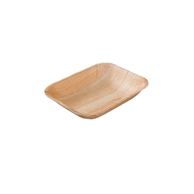 "Rectangle palm leaf plates, deep 16x13 cm / 6""x5"" (200 pcs.) - Naturally Chic Eco-Friendly Packaging Canada"