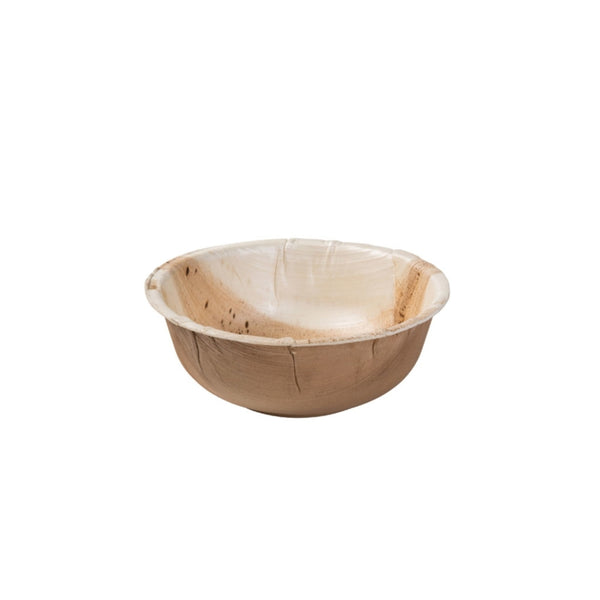 "Round palm leaf bowls, 425 ml (520 ml max.) / 14oz / 6"" dia. lid available (200 pcs.) - Naturally Chic Eco-Friendly Packaging Canada"