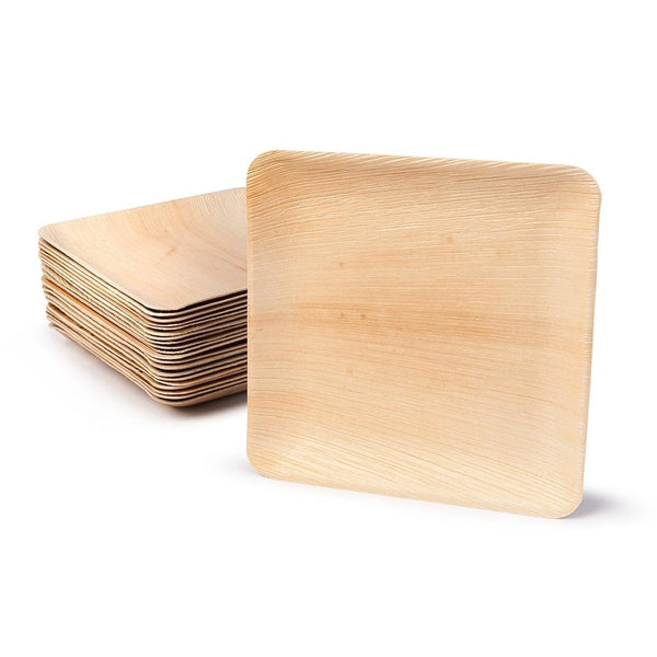 "Square palm leaf plates, 25x25cm / 10"" (200 pcs.) - Naturally Chic Eco-Friendly Packaging Canada"