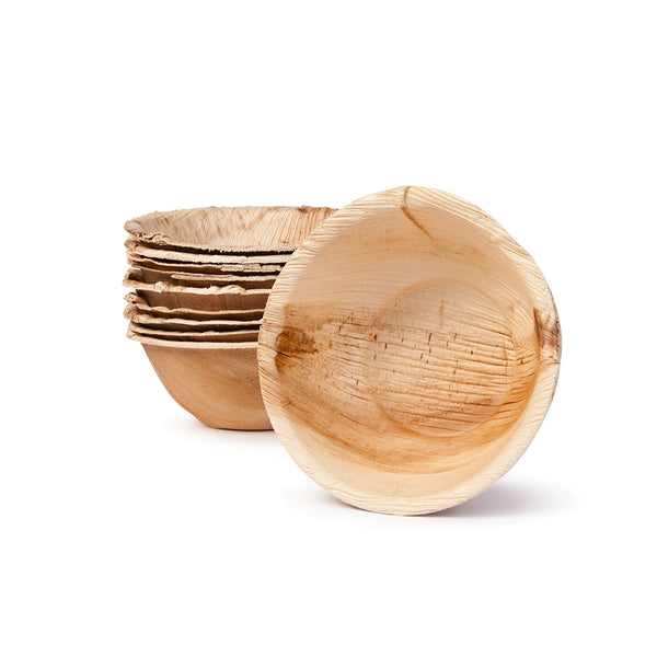"Round palm leaf bowls, 275 ml (320 ml max.) / 10oz / 5"" dia. (200 pcs.) - Naturally Chic Eco-Friendly Packaging Canada"
