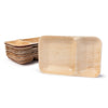 "Rectangle palm leaf plates, 2 compartments, 25x15cm / 9""x6"" (200 pcs.) - Naturally Chic Eco-Friendly Packaging Canada"