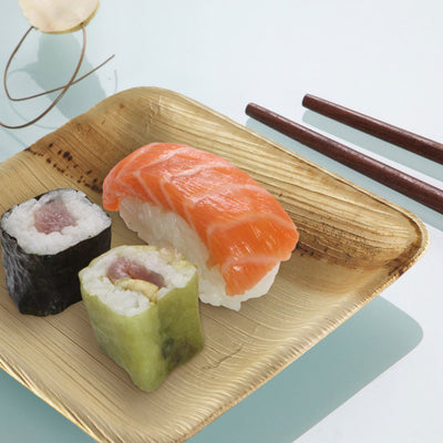 Naturally Chic 6 Inch Square Palm Leaf Plates Sushi