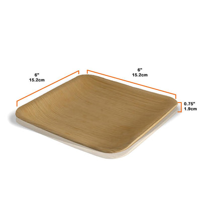 "Square palm leaf plates, 15x15cm / 6"" (200 pcs.) - Naturally Chic Eco-Friendly Packaging Canada"