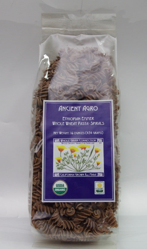 Ancient Agro Ethiopian Emmer Whole Wheat Spirals 16 Oz