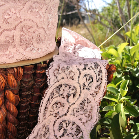 Vintage Mauve Tan Floral Swirl Galloon Lace Trim 3¼