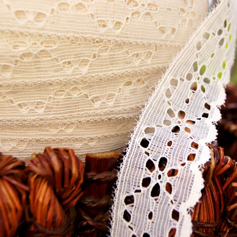 Scalloped Off White Eyelet Lace Edging 1¼